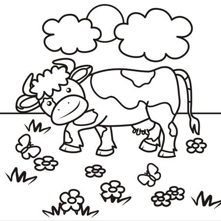牛 - 塗り絵  イラスト・ベクター素材