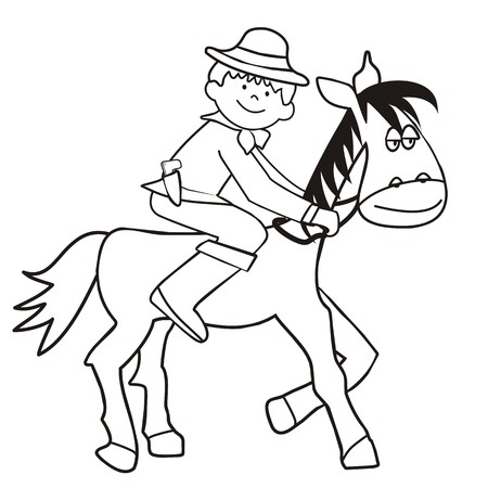 horse and cowboy - coloring Illustration