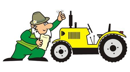 dealerships: Gardener and tractor illustration  Illustration