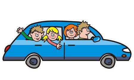 Auto-Reise mit der Familie Illustration