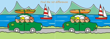 trip - find ten differences  illustration  Vector