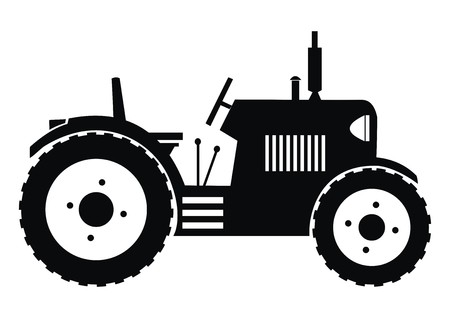 tillage: tractor - black illustration