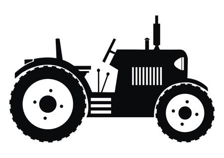 tillage: trattore - nero illustrazione Vettoriali