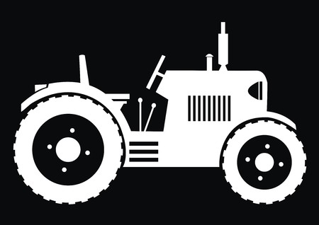 Tractor - black background  Vector
