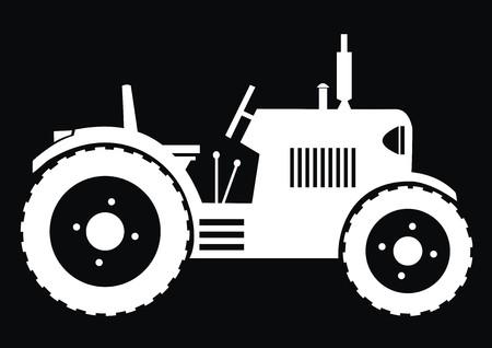 tillage: Tractor - sfondo nero Vettoriali