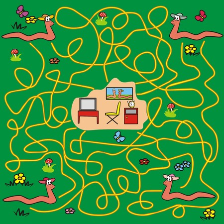 maze -earthworms  Vector