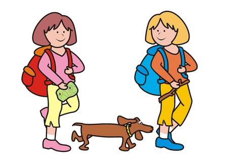 ramble: girls and dog Illustration