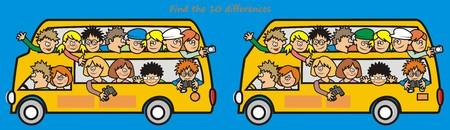 yellow bus - find 10 differences Vector