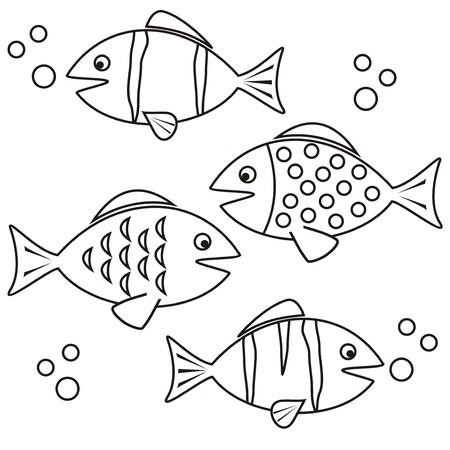 물고기 - 착색 일러스트