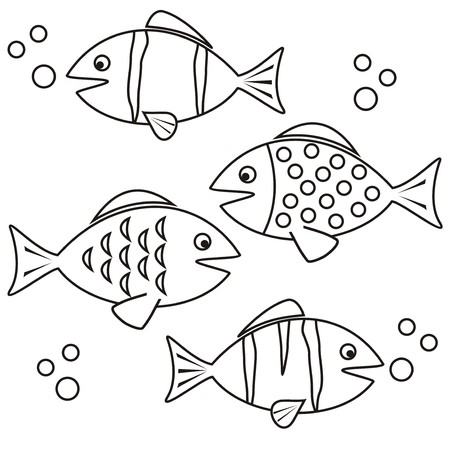 fishes - coloring Vector