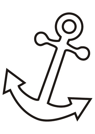 anchor drawing: white anchor Illustration