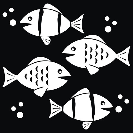scalar: fishes - black and white
