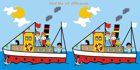 game - find the 10 differences Vector