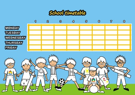 School timetable - coloring book Vector