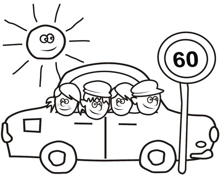 car and kids - coloring book Vector