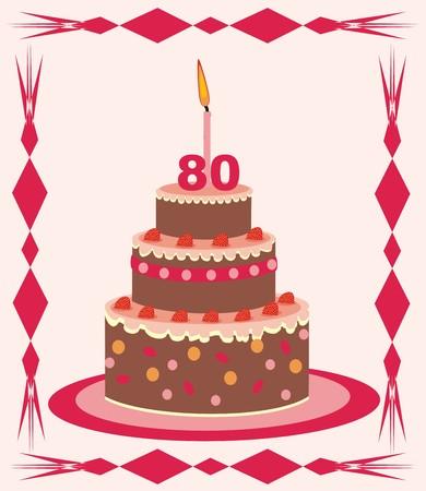 cake   80 years  Vector