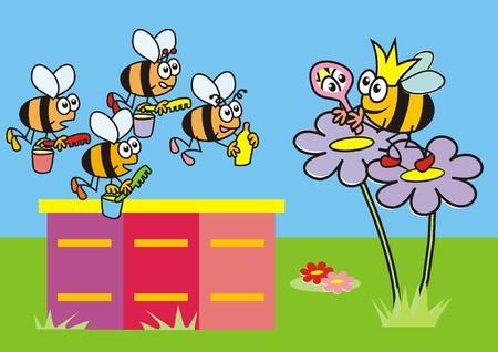 Queen Bee and the workers  Vector