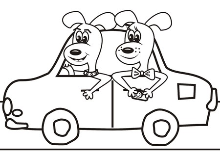 dogs in the car-coloring book Vector