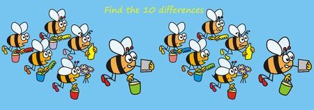 蜂 - 10 の違いを見つける