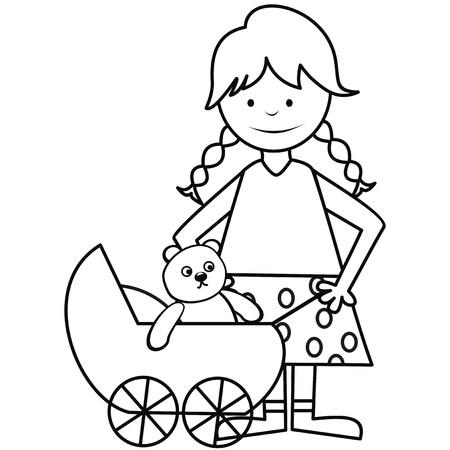 girl and pram - coloring book Vector
