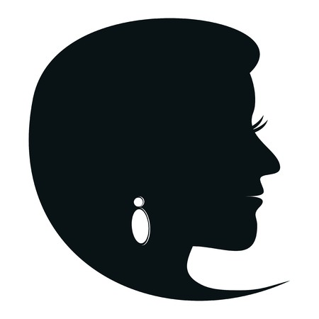Black silhouette of a girl with earrings