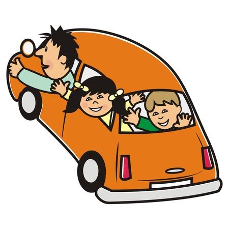 family trip: orange car and family