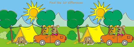 puzzlement: Find the ten differences - dogs and tent Illustration