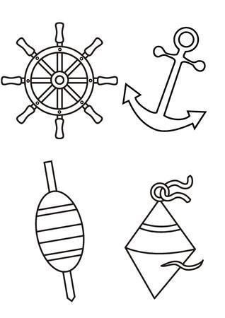 dan: maritime symbols - coloring book Illustration
