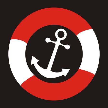 anchor drawing: anchor and life buoy Illustration