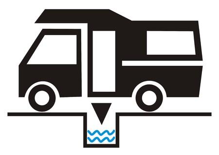 ditch: Caravan - traffic sign