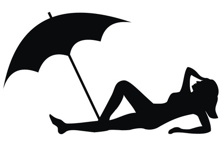 brolly: beach - black sign  Illustration