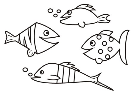 fishes - coloring book Illustration