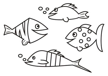 aquarist: fishes - coloring book Illustration