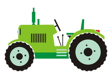 tractor in field: tractor - green color