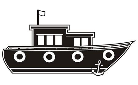 boat - black silhouette