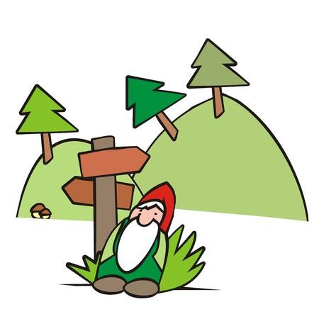 montañas caricatura: elfo ilustración Vectores