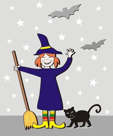 whisk broom: Halloween, girl and cat