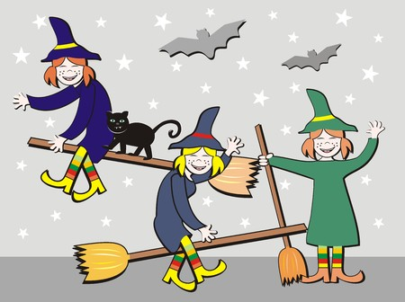 Witches on broomsticks Vector
