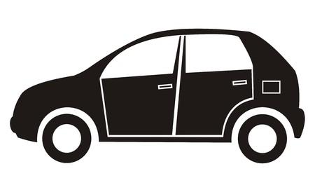 Schwarze Silhouette eines Familienauto