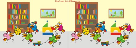Nursery, find the ten differences Vector