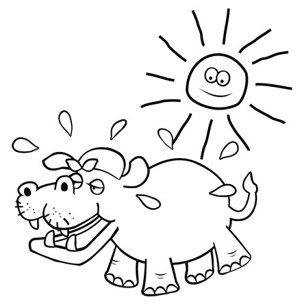 Hippo, coloring book