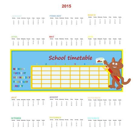 Calendar 2015 and school timetable Vector