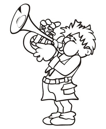 Trumpeter, coloring book Vector