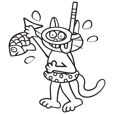Tomcat and fish, coloring book Vector
