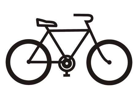 circular silhouette: bicycle, black silhouette