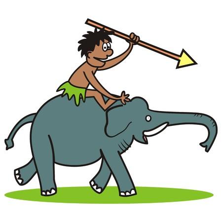 chase: Elephant and hunter Illustration