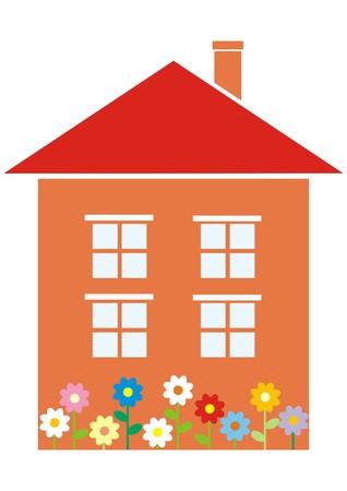 家と花  イラスト・ベクター素材