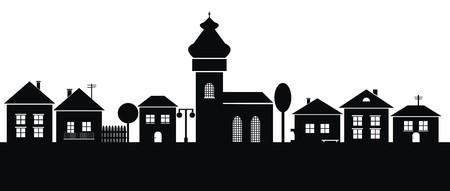 stad, zwarte silhouet Vector Illustratie