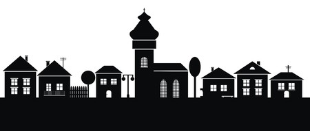 municipality: town, black silhouette Illustration