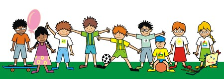 kids football: kids, group Illustration
